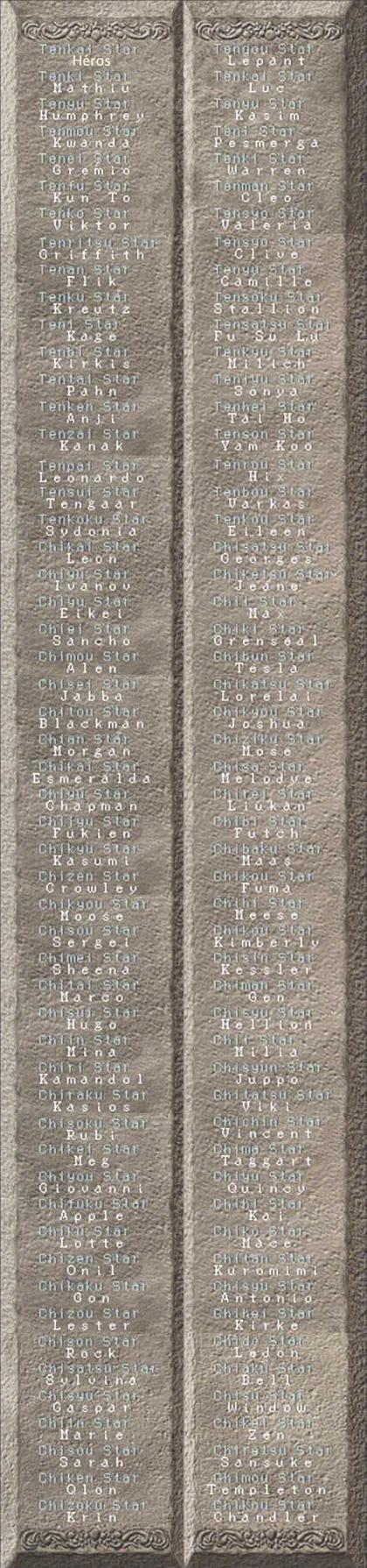Voici la tablette des 108 étoiles du destin.